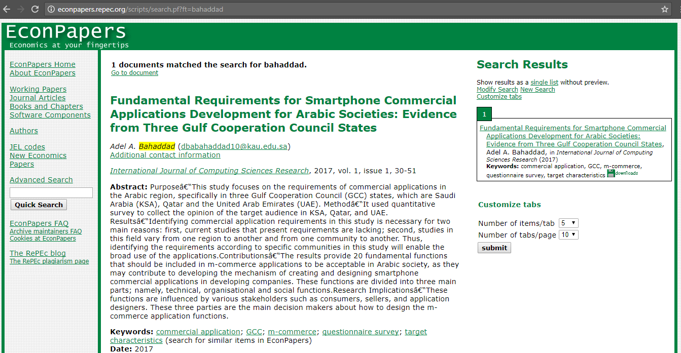 Ijcsr Articles Are Now In Repec International Journal Of
