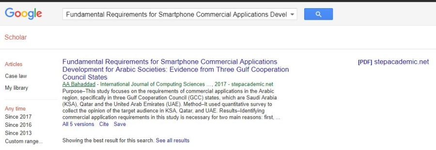 SEARCHABLE IN GOOGLE SCHOLAR - bahaddad
